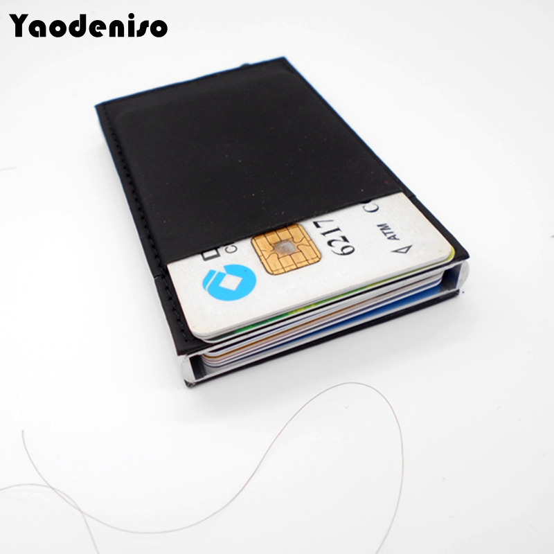 BUG NEW metal men women card holder rfid purse  aluminium credit card holder with rfid blocking leather mini wallet scoop neck sleeveless striped voile splicing stylish long dress for women