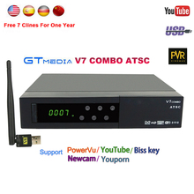 V7 Gtmedia Combo powervu Receptor de Satélite Youtube vídeo livre 1080 P Full HD DVB-S2 + ATSC Set-top BOX apoio Biss key USB Wifi