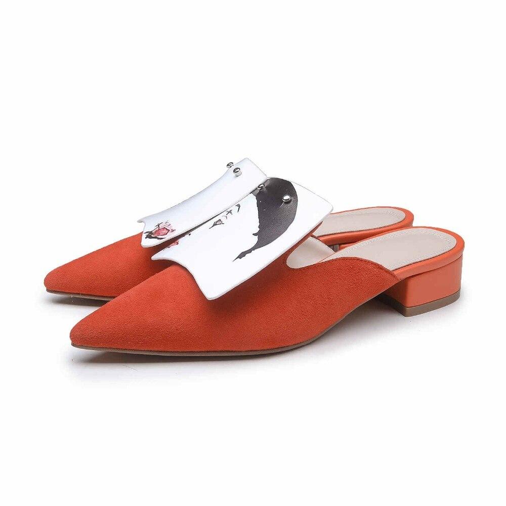 Automne femmes pantoufles en cuir véritable femme rayé solide Mules mode bas talons carrés chaussure bout pointu élégant femme pantoufle