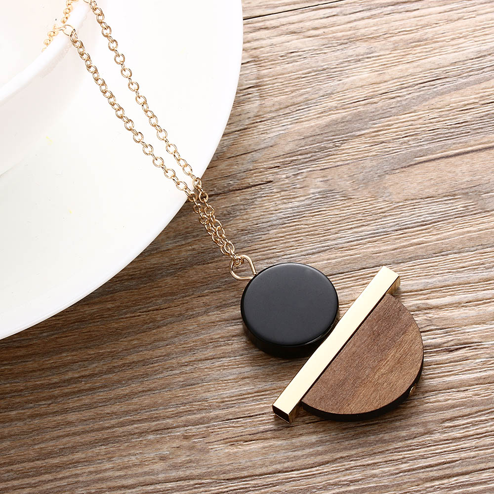 Geometric Circular Resin Wood Vintage Pendant Gold Alloy Chain Long Necklace Unisex Fashion Jewelry Pendant Necklace Free Ship