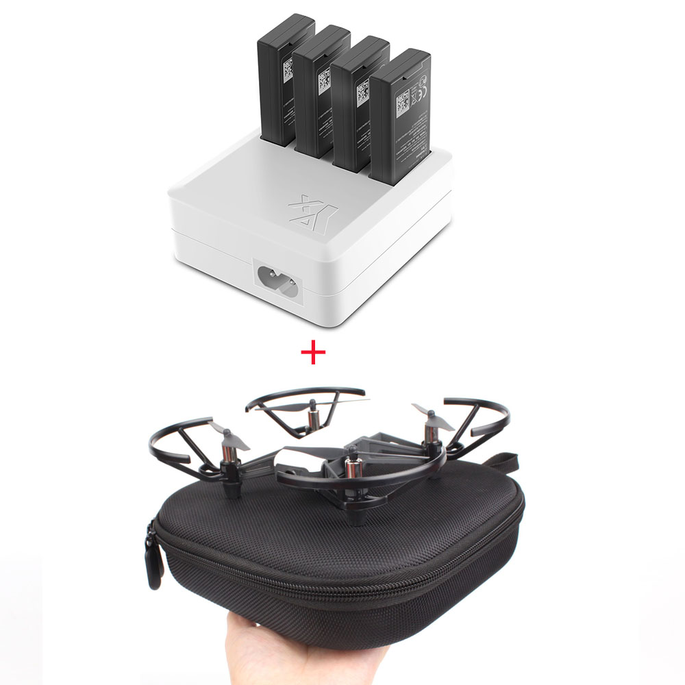Charger For DJI Tello 4in1 Multi Battery Charging Hub + Carrying Case Storage Box Drone  Flight Battery Quick Charging US/EU