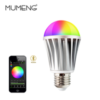 MUMENG Dimmable Bluetooth RGB LED Bulb Wireless Control E27 SMD5630 7W AC85 240V Intelligent Smart Light Bulb