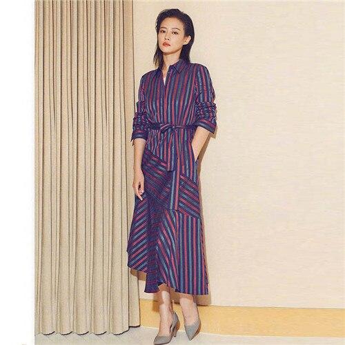 Célèbre marque femmes robe à manches longues 2018 automne couleur irrégulière rayure chemise robe de haute qualité designer colothes en vente xl