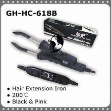 Conector de extensão de cabelo rosa e preto, extensão de cabelo GH HC618B W, ferramenta estilizadora de temperatura
