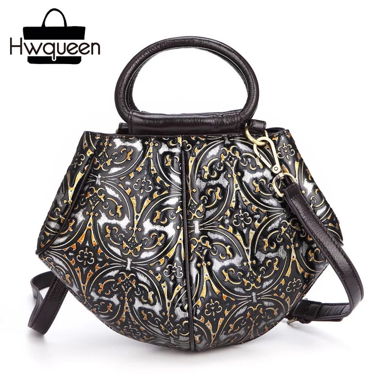 Unique Geometrical Designer Genuine Leather Hasp Closure Women Small Embossed Purse Vintage Female Shoulder Bag Lady