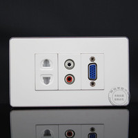 120MM Wall Face Plate RCA AV VGA Two Hole 10A250V Power Socket Outlet Assorted Panel Covers