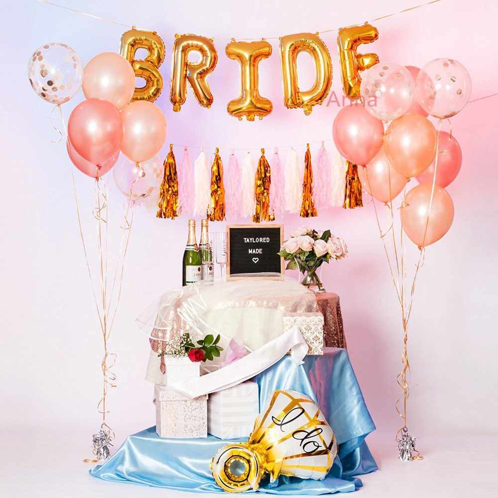 a0410684312 16inch Rose Gold Bride To Be Letter Foil Balloon heart Balloons Hen Party  Decorations Wedding Bachelorette