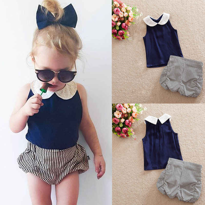 908c518e7 ... Toddler Kids Baby Girls Clothes Sets 2pcs Summer Beach Outfits Clothes  T-shirt Tops + ...