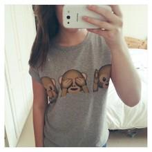 Women's T Shirt 2015 Summer Style Harajuku T Shirt Women Short Sleeve Emoji Monkeys Print Summer Tee Tops