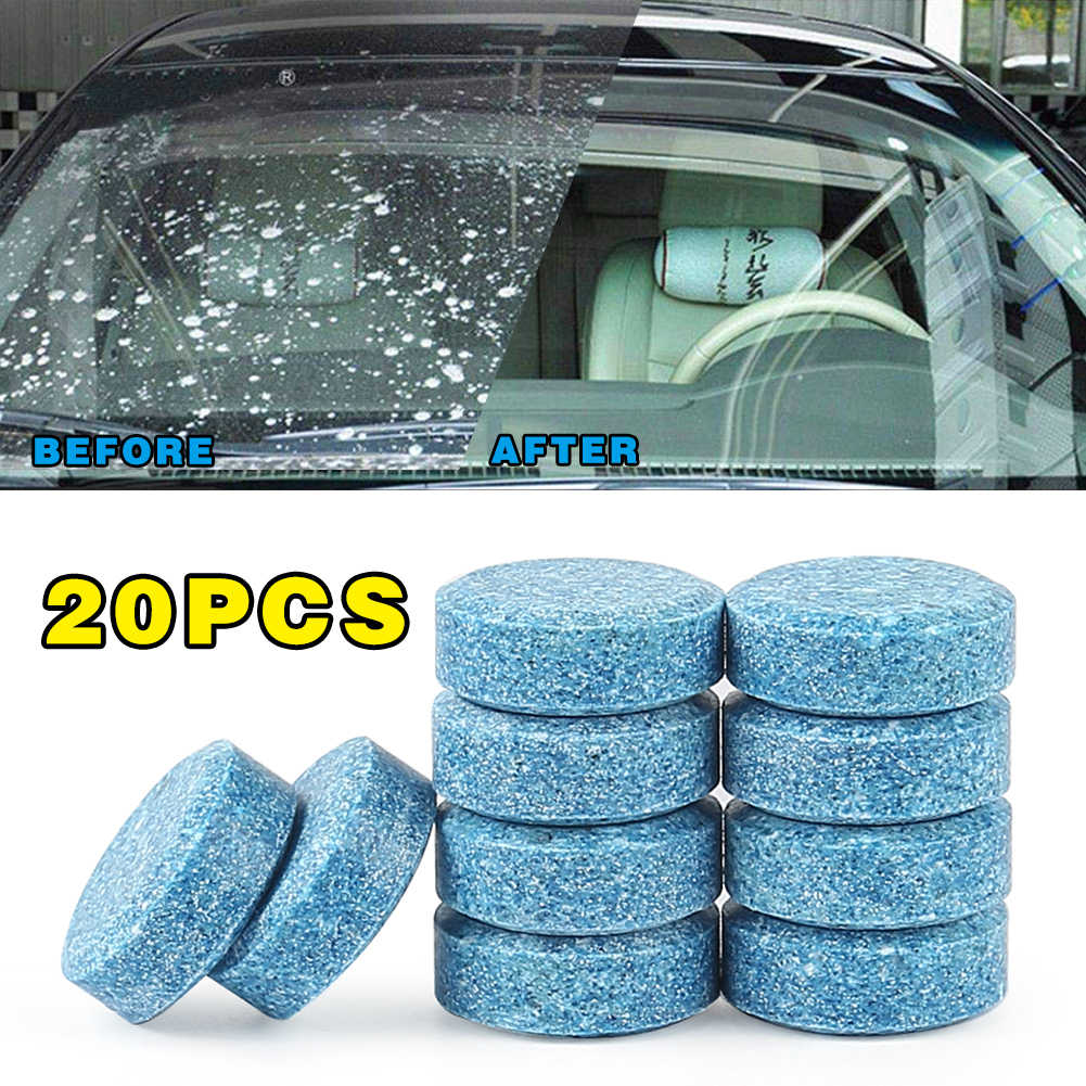 20pcs multi-functional concentrated effervescent tablet blue glass window cleaner for car kitchen cleaning kitchen tools tech