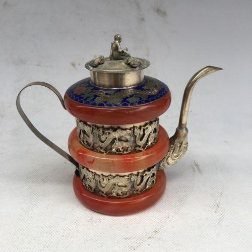 Collectible Decor Old Handwork Jade /& Tibet Silver Carved Dragon Phoenix TeaPot