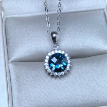 Uloveido Natural Blue Topaz Round Necklace Women, 925 Sterling Silver, Platinum Plated, 8*8mm*1 Pcs Ocean Birthstone FN172