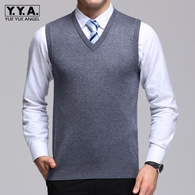 Thick Winter V-Neck Men Wool Vests Business Solid Waistcoat 2019 Fashion Warm Knitting Tops Sleeveless Jacket Coletes Masculino