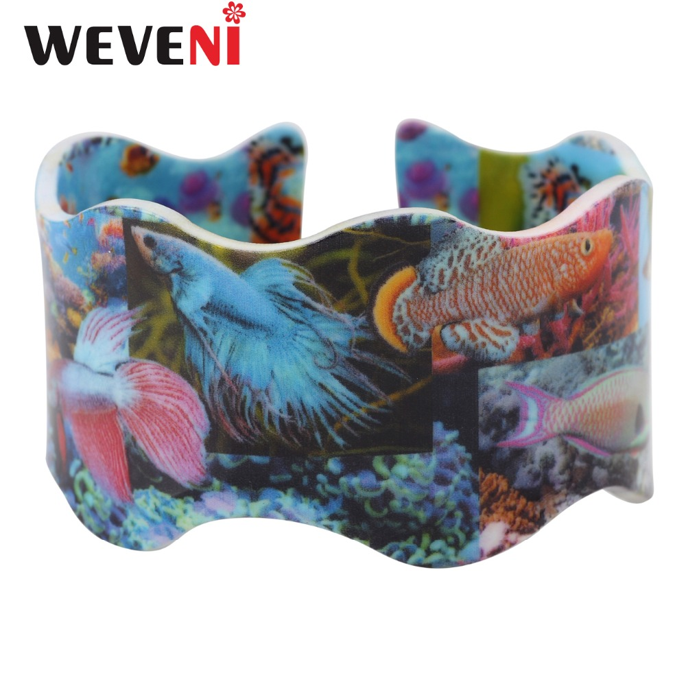 WEVENI Plastic Fighting Fish Coral Print Bracelet Bangles Wave Pattern Jewelry For Women Girls Ocean Sea Animal Accessories Bulk