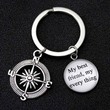 Compass My Friends My Every Thing Keychain Hand Pinky Swear Promise Keychains Sisters Key Chain KeyRing Friendship Jewelry Gift цена