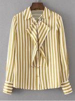 Fashion New Women Shoulder Pads Flounces Stripes Shirt Casual Slim Simple Turn Down Collar Long Sleeve