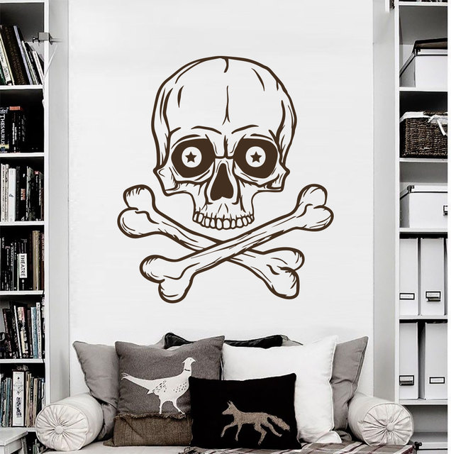 Skeleton wall decal skull horror pirate bones stickers living room decor vinyl vintage art mural home