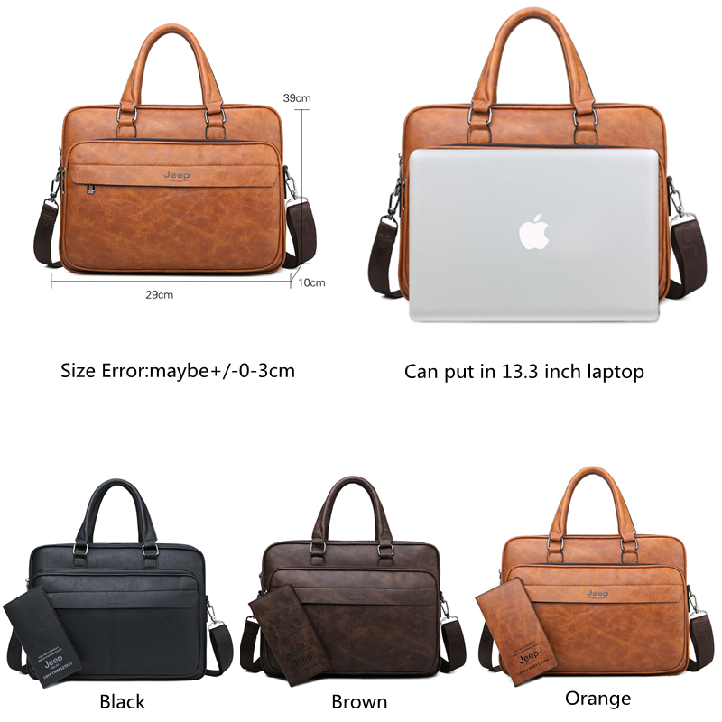 JEEP BULUO Famous Brand High Quality Business Leather Shoulder Messenger Bags Men's Briefcase Bag Travel Handbag 14 inch Laptop