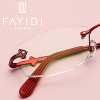 Alloy Women's Spectacles Optical Clear Transparent Lens Computer Rimless Glasses With High Quality Prescription Lenses #F125