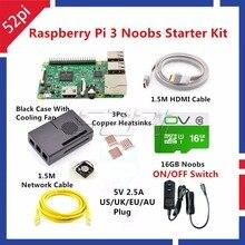 Sale 52Pi 2017 New Raspberry Pi 3 Model B Starter Kit with EU/US/AU/UK Power+Case+Cooling Fan+16GB SD Card+HDMI+Copper Heatsinks