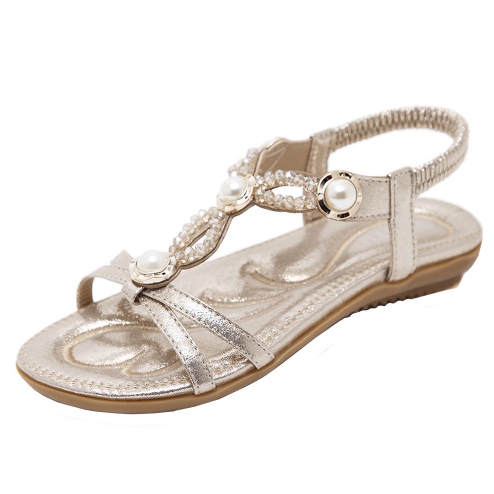 Woman Summer Sandals Flat Shoes Bohemia Lady Girls Rhinestone Beads Platform Shoes Ladies Casual Beach Sandals Shoes for Women