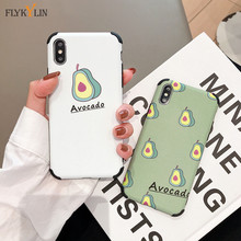 Silicone Phone Case on For iPhone X XS Max XR Soft TPU Cute Cartoon Avocado Back Cover For iPhone 7 8 6 6s Plus Case Cover Coque цена