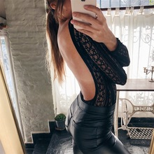 MUXU black lace long sleeve backless bodysuit women rompers jumpsuit body feminino combinaison femme sexy see through