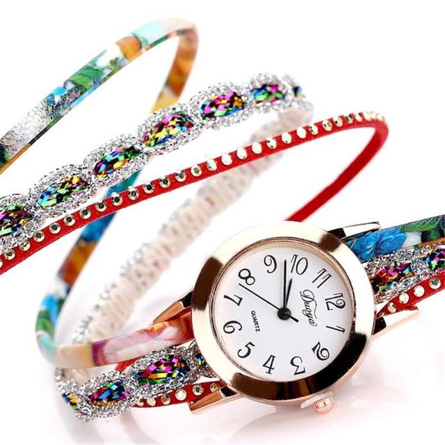 Duoya Brand Women Watches Bracelet Watch Ladies Flower Popular Quartz Watch Women Dress Flower Gemstone Wristwatch Gift