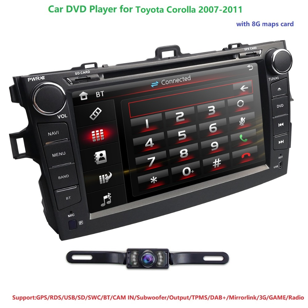 """Hizpo CarDVD Player For Toyota Corolla8""""Touch Screen GPS Stereo iPhone Music/AM FM Radio/SWC/Bluetooth/3G/AV-IN Map Rear Camera"""