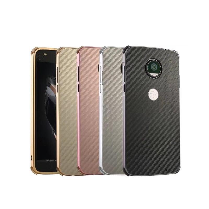 Противоударный Алюминий металлический корпус для Motorola Moto Z2 силы Z Z2 играть E4 G5 G5S плюс м X Force X4 рамка + углеродного волокна PC задняя крышка