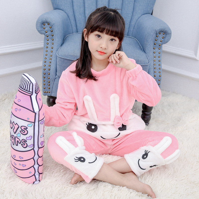 Syue Moon Girls Flannel Pajamas Sets Kids Rabbit Pyjamas Children Warm Thickening Sleepwear Baby Boy Homewear Nightwear Clothes baby boy girls kid cartoon clothing pajamas sleepwear sets nightwear outfit children clothes
