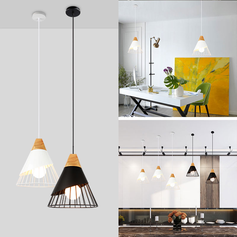 Pendant Lights Nordic 3 Lamps E27 Wood Pendant Light Kitchen Island Dining Room Modern Wooden Led Pendant Lamp Iron Lampshade Suspended Lamp