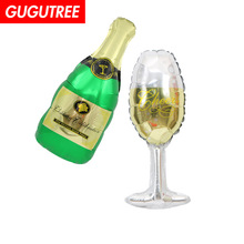 Decorate 50x21cm green glass winebottle foil balloons wedding event christmas halloween festival birthday party HY-249