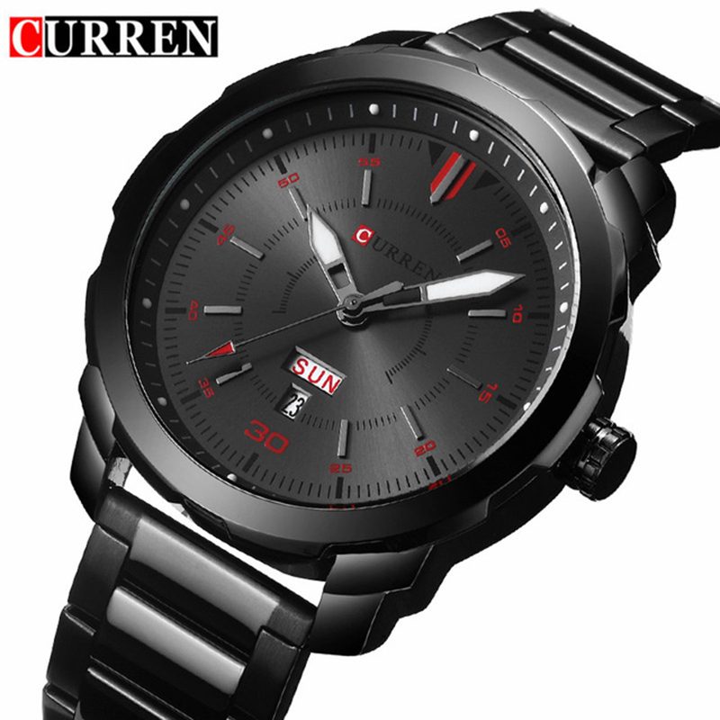 2017 Men's Fashion Watches Relogio Masculino Curren Watch Men Brand Luxury Black Quartz Wrist Watch Full Steel Sport Male Clock new luxury men watch roman numbers stainless steel quartz wrist watch male clock mens watches relogio masculino 2018