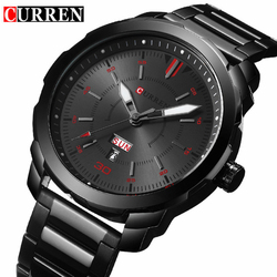 2017 Men's Fashion Watches Relogio Masculino Curren Watch Men Brand Luxury Black Quartz Wrist Watch Full Steel Sport Male Clock