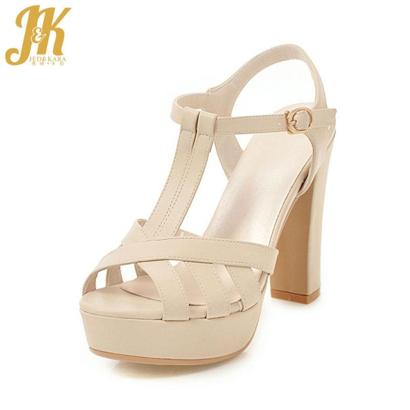 JK 2018 Women Sandals Gladiator T Strap Peep toe Summer Shoes Thick High Heels Footwear Platform Ladies Sandals Slingback Buckle micrometer mechanical matrix 317505