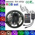 5050 RGB LED Strip Non-Waterproof 4M strip light smd5050 Led Strip Light Fita Led String + music IR Remote + DC 12V 2A Power Kit