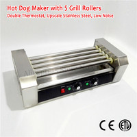 Household Commercial Electric Hot Dog Roller Grill Stainless Steel Hotdog Machine 5 Rollers 220V 240V 1000W CE