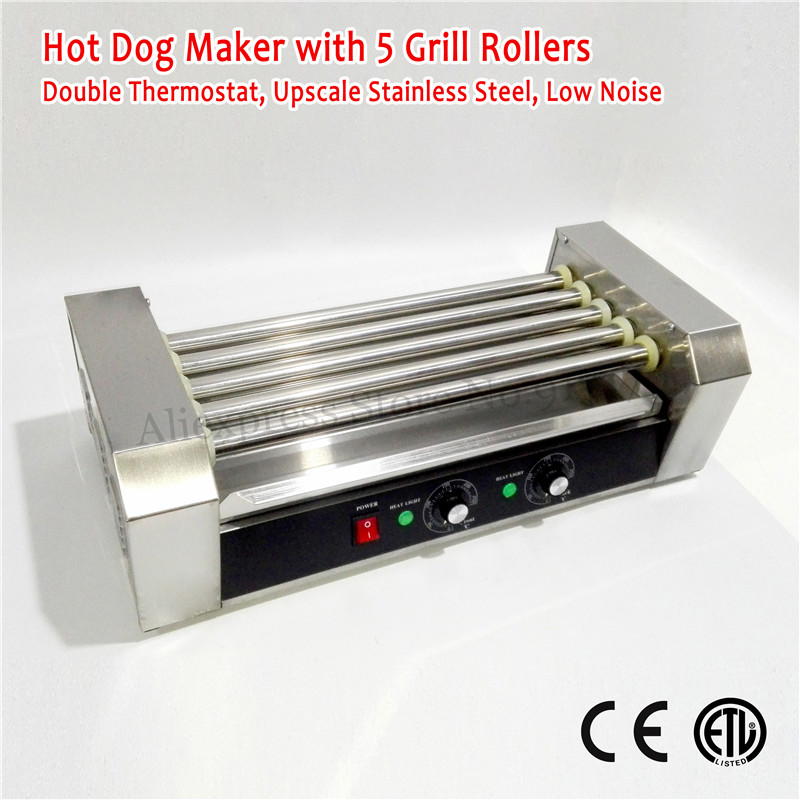Household <font><b>Commercial</b></font> Electric <font><b>Hot</b></font> <font><b>Dog</b></font> <font><b>Roller</b></font> <font><b>Grill</b></font> Stainless Steel Hotdog <font><b>Machine</b></font> 5 <font><b>Rollers</b></font> 220V-240V 1000W CE