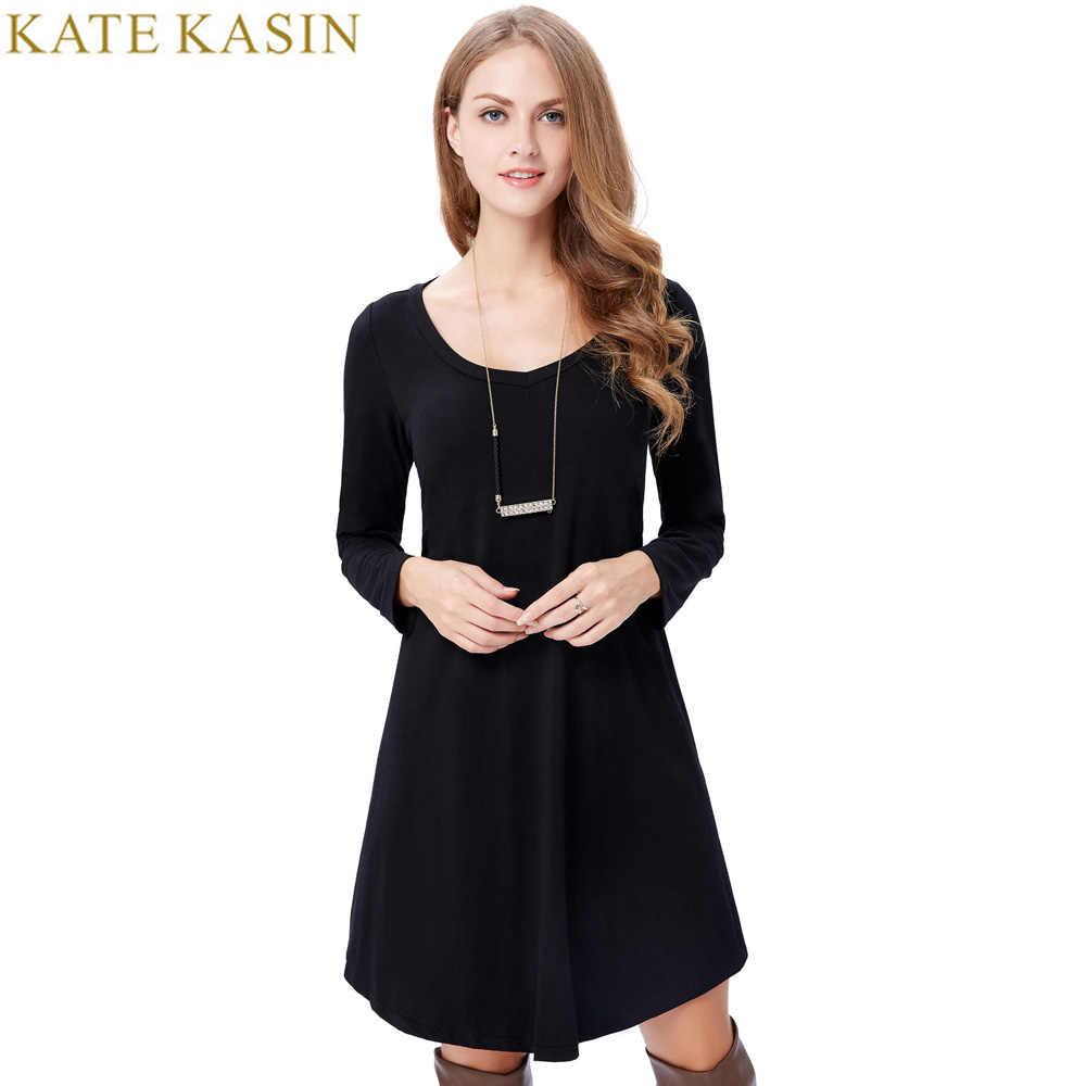 15f3147d0094 ... Cotton T Shirt Dress Summer 2017 Fashion Long Sleeve Black Women Daily  Dresses Knee Length Loose ...