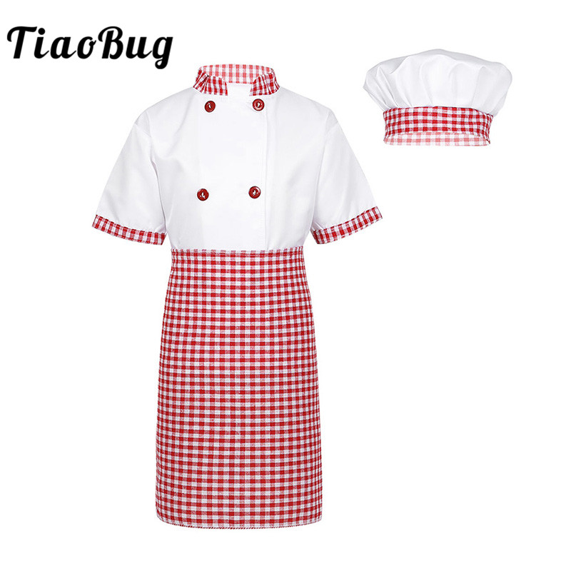 TiaoBug Children Unisex Chef Uniform Kids Boys Girls Chef Jacket With Apron Hat Kitchen Cook Cosplay Party Halloween Costume Set