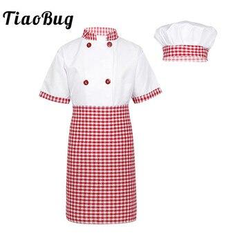 27d4e0339e1 TiaoBug niños Unisex Chef uniforme niños niñas Chef chaqueta con delantal  sombrero cocina cocinar Cosplay fiesta Halloween traje conjunto