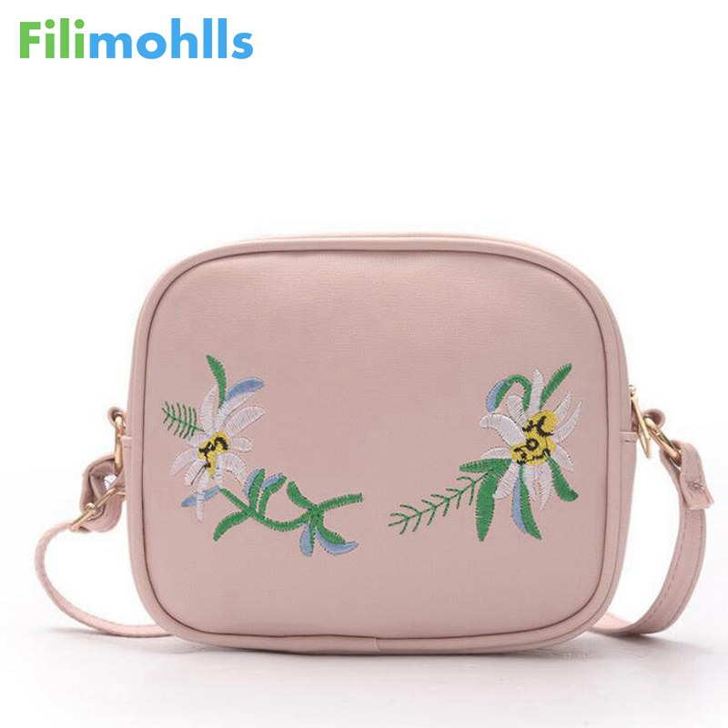 2018 Summer Embroidery Pu Leather Women Messenger Bags Small Women Bag Female Shoulder Crossbody Bag Floral Flap S1007 рюкзак городской polar цвет фиолетово синий 22 5 л 15008