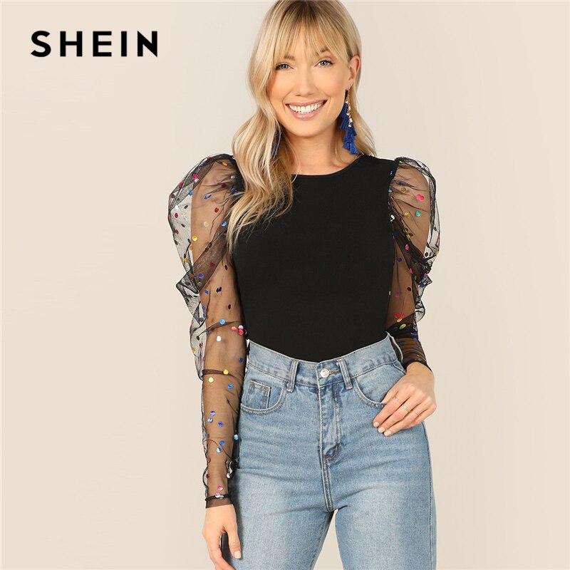 SHEIN Black Colorful Dot Puff Shoulder Mesh Gigot Sleeve Skinny Tee O-Neck   T     Shirt   Women Spring Slim Fit Party Club Tshirt Tops