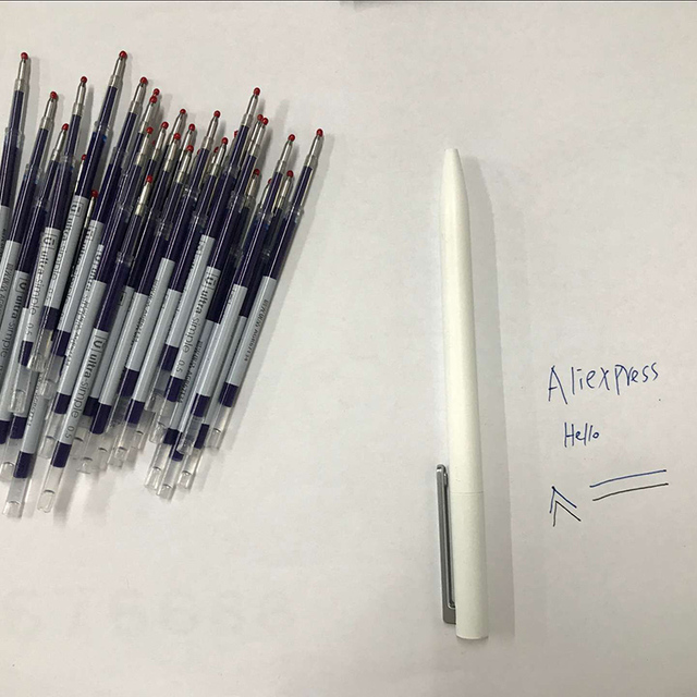 0.5 مللي متر الأزرق اللون الأحبار إعادة الملء قضبان الأزرق ل شاومي الأبيض القلم توقيع القلم البلاستيك القلم استبدال فقط ل النسخة القديمة شاومي القلم
