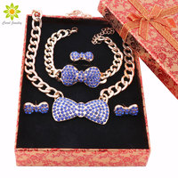 African Jewelry Set Gold Plated Earrings Bracelet Ring Necklace Sets Fashion Crystal Bow Jewelry Set Gift