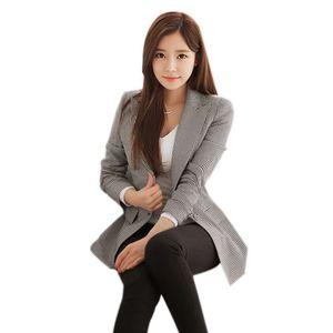 Image 5 - נשים משובץ ארוך שרוול טרייל בתוספת גודל פורמליות מעילי חליפת גבירותיי עבודה ללבוש מזדמנים הלבשה עליונה