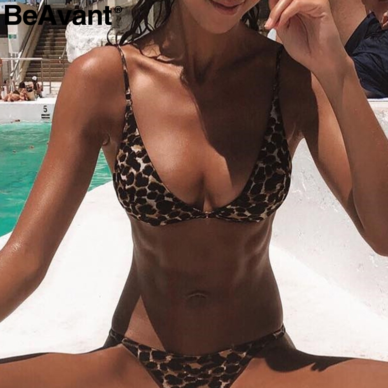 BeAvant Leopard print sexy women bodysuit Two-piece set summer   jumpsuit   short Backless push up skinny swimwear playsuit 2019
