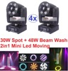 4xLot 2016 White 30W LED Spot Moving Head Light 48W RGBW Led Beam Wash Projector Lamps