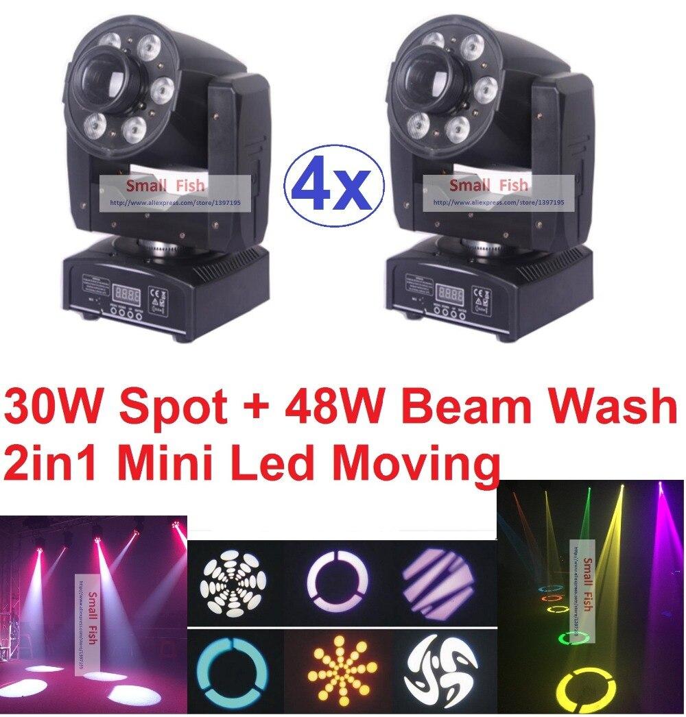 4xLot 2019 bílá 30W LED bodová pohyblivá hlava světla + 48 W RGBW LED paprskové promítací lampy Profesionální DJ Disco DMX jeviště